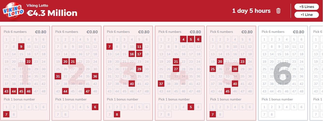 Viking lotto choose number